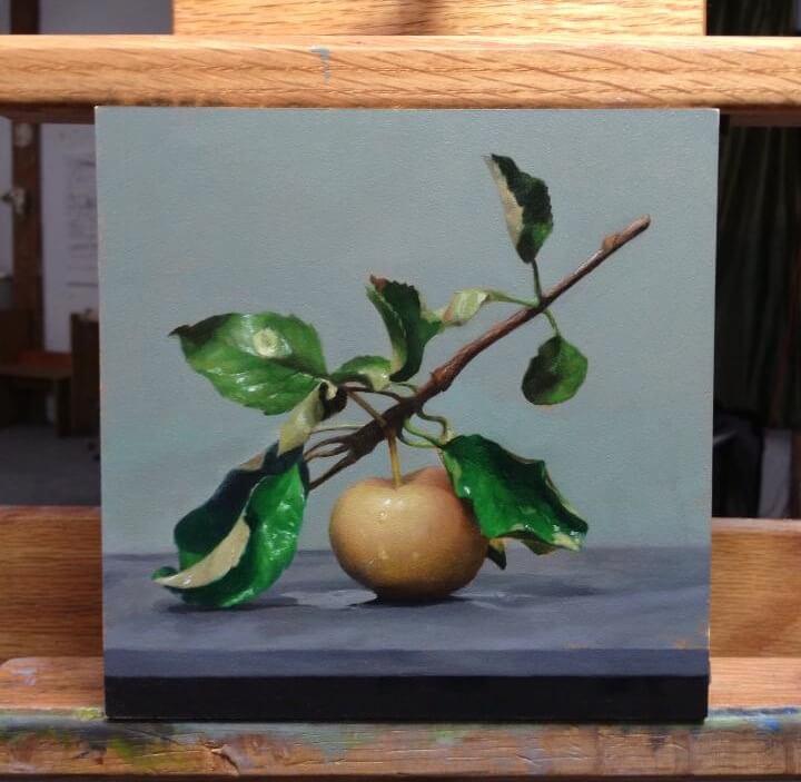 """""""Summer Apple"""" 6x6"""", oil on panel."""