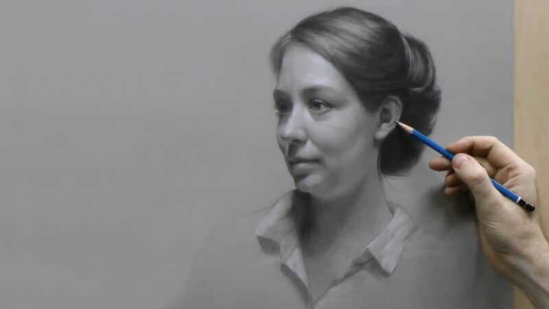 Still from David Jamieson's 3rd Time-Lapse Portrait Drawing Demonstration.
