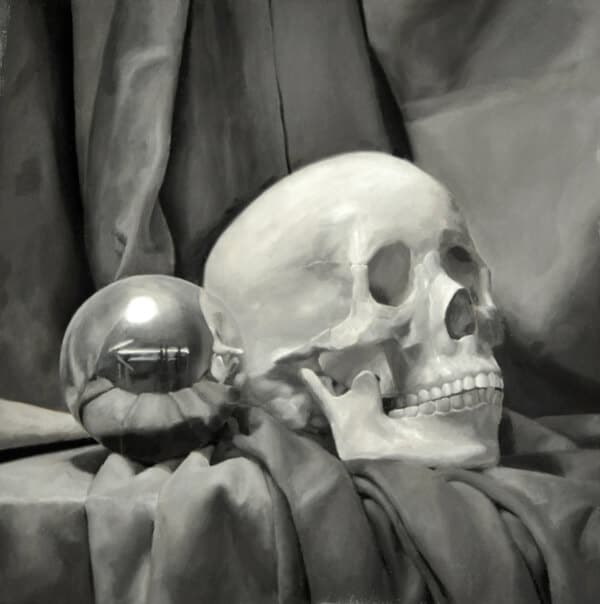 "<em>""Mirror Ball & Skull""</em>, Oil on Panel, by Alex Bauwens"