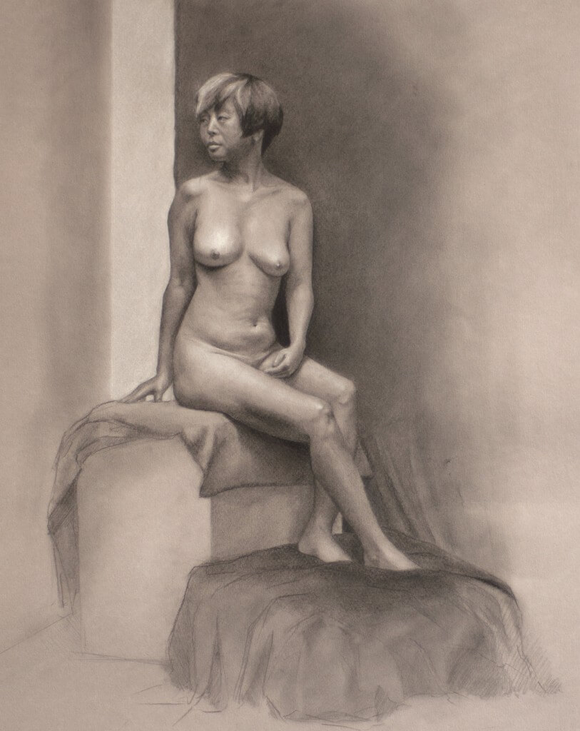 By Ashly McLoney, graphite and white chalk on paper.