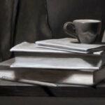 "<em>""Books & Cup""</em>, Oil on Panel, by Alex Bauwens"
