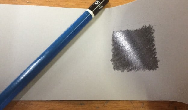 "An example of ""burnished"" or ""shiny"" graphite."