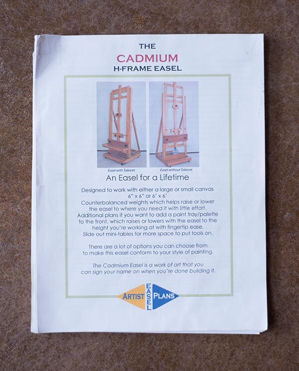 Our well-worn copy of Bob Perrish's <em>Cadmium</em> H-frame easel plans.
