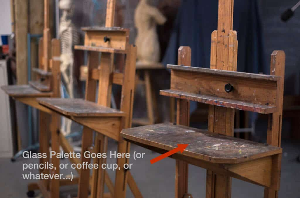 """Our H-Frames at the studio feature an integrated """"taboret"""" shelf that I've grown to like."""