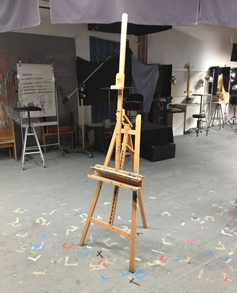 """A typical """"A-Frame"""" easel. Serviceable and inexpensive, but not the most robust option."""
