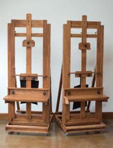 A pair of Cadmium H-Frame studio easels