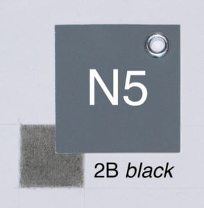 2B black with moderate pressure on white paper. Closest whole-step Munsell value: 5