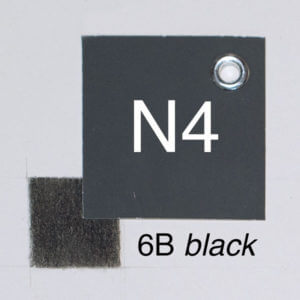 6B black with moderate pressure on white paper. Closest whole-step Munsell value: 4