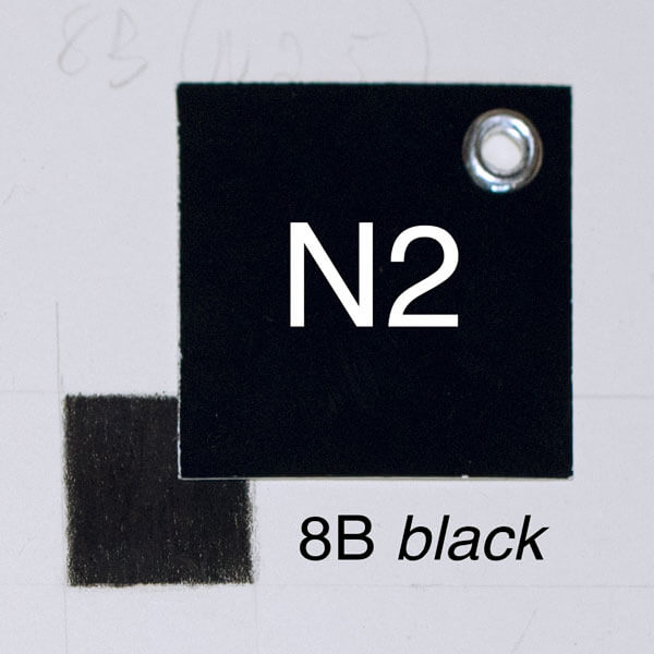 8B black with moderate pressure on white paper. Closest whole-step Munsell value: 2
