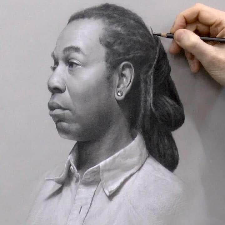 Portrait drawing with Mars Lumograph black pencil.