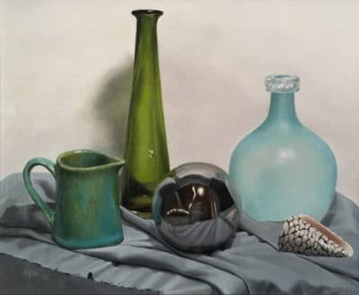 "<em>""Green Bottle""</em>, oil on panel, by Sue Wrzesinski"