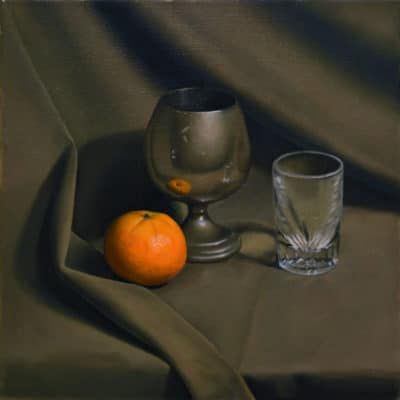 "<em>""Goblet & Clementine""</em>, Oil on Canvas, by Hillary Inkaya"
