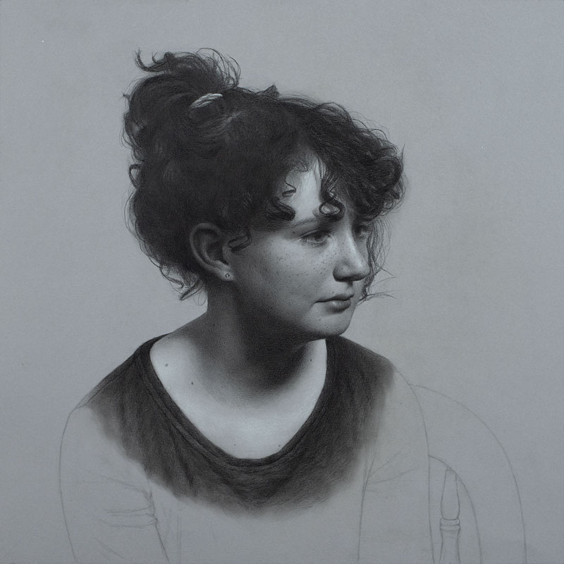 Portrait drawing of a child in graphite pencil.