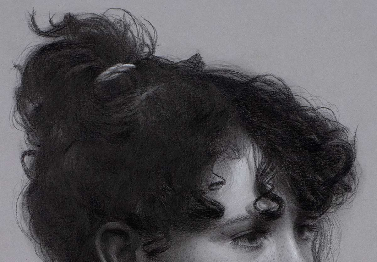 image showing hair in a graphite portrait drawing.