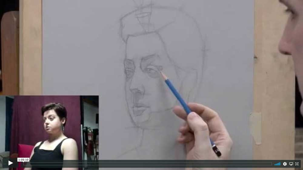 still from a live streaming portrait drawing demonstration