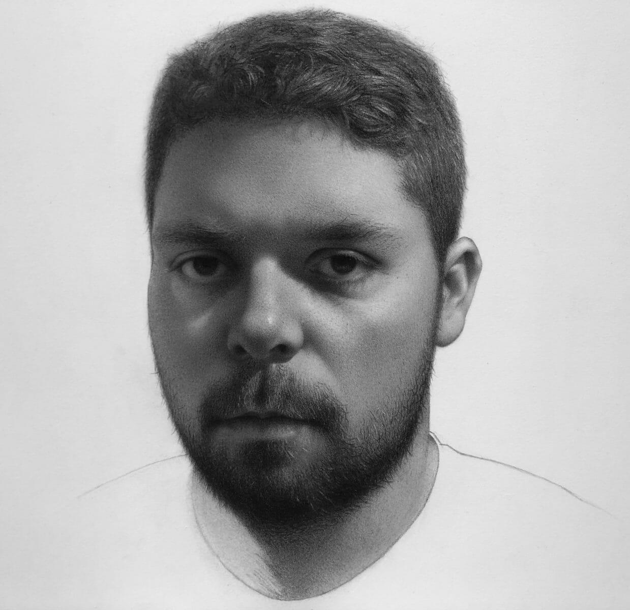 Self-Portrait, Graphite and Carbon Black on White Paper
